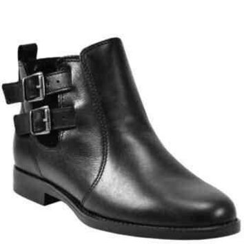 Stella Black Leather Casual Booties