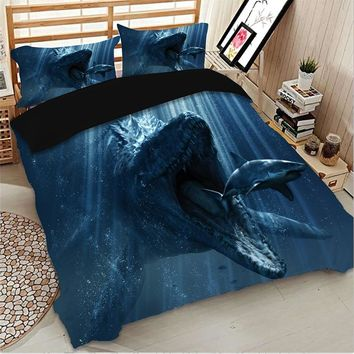 Cilected Dinosaur Eating Shark Printed Duvet Cover Set With 2Pcs Pillowcases Blue Deep Sea Quilt Cover King Bedding Protector