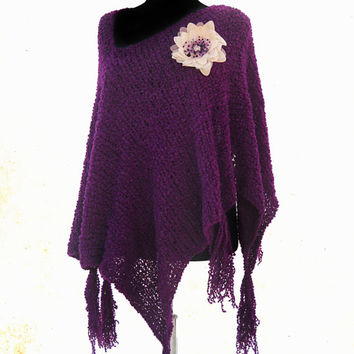Purple Poncho, Spring Poncho, Fringe Ponchos, Poncho Sweater, Women Accessories, Hand Knit Poncho,  Boho Poncho, Asymetrical Sweater