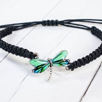 Dragonfly Bracelet with Blue and Green Wings