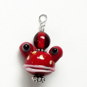 Red Toad Head Shaped Lampworked Glass Charms Beads (2)  Pieces