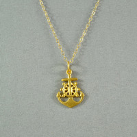 Gold Anchor Necklace, 24K Gold Vermeil Style, 14K Gold Filled Chain, Modern, Simple, Pretty, Delicate, Everyday Wear Jewelry