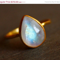 EASTER SALE White Moonstone Ring  Teardrop  Stacking by OhKuol