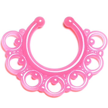 Pink Acrylic Tribal Blossom Glow in the Dark Clip On Septum Ring