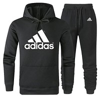 ADIDAS 2019 new simple solid color men and women sports suit two-piece black