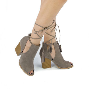 Stacked Bootie Heels In Taupe