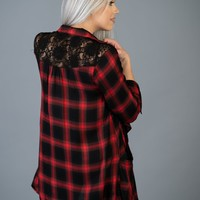 Red and Black Plaid Cardigan with Lace Back