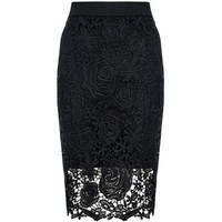 Quiz Black Lace Zip Back Midi Skirt