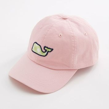 Gingham Whale Patch Baseball Hat