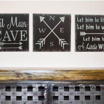 Lil Man Cave Let Him Be Little Compass Boys Nursery Decor