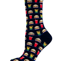 Hot Sox Hamburger and Fries Print Trouser Socks