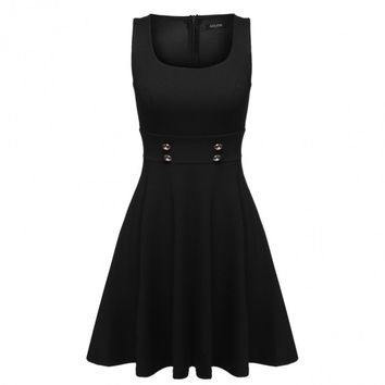 Women Sleeveless Casual Cocktail Party Tunic A-Line Tank Dress