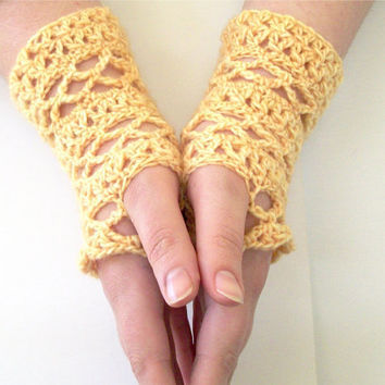 Lace Fingerless Gloves Crochet Pattern Split DC and Mesh Lace Gloves