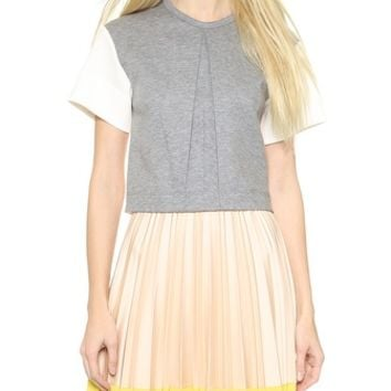 Cedric Charlier Short Sleeve Crop Top