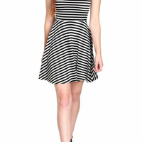 Striped Fit-and-Flare Dress-FINAL SALE