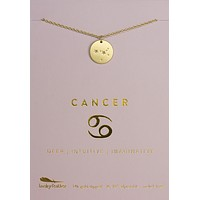 Lucky Feather Cancer Zodiac Sign Constellation Necklace