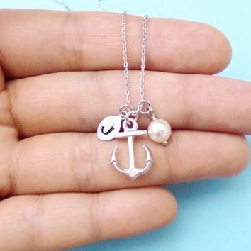 Personalized, Letter, Initial, Nautical, Anchor, White, Pearl, Gold, Silver, Necklace, Birthday, Friendship, Mom, Sister, Gift, Jewelry