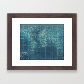 Grunge World Map Framed Art Print by Catherine Holcombe