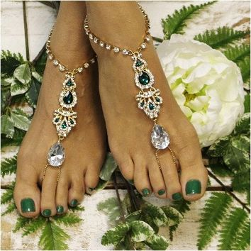 ERINN barefoot sandals - emerald green gold
