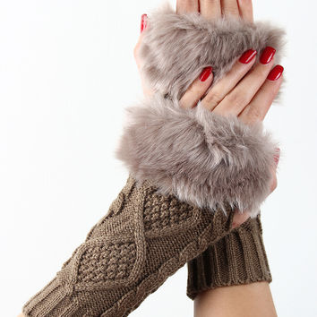 Fur Cuff Cable Knit Hand Warmers