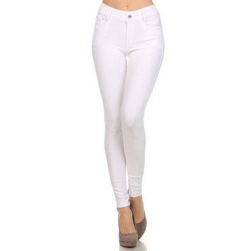 Women's Stretchy Cotton-Blend Jeggings with 5 Pockets- Regular and Plus