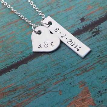 Personalized Necklace with Initials and Date / couples heart necklace / hand stamped jewelry / handmade gift