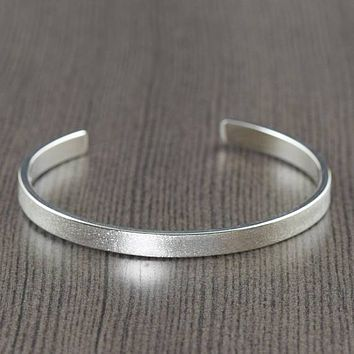 Unisex Sterling men or women silver cuff bracelet satin finish bracelet