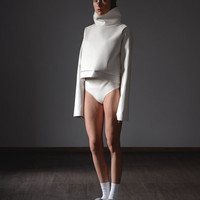 White Faux Leather Sweatshirt