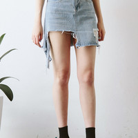 Hem Tear Denim Mini Skirt