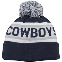 Mens Dallas Cowboys New Era Navy Blue/White Biggest Fan Redux with Pom Knit Hat