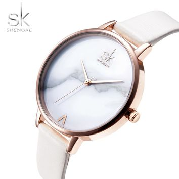 Shengke Fashion Women Watches Elegant Watches for women White Leather Watch Quartz Watch Montre Femme Marble Dial 2018 SK Reloj