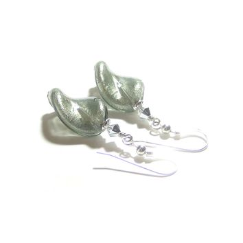 Murano Glass Grey Twist Sterling Silver Earrings
