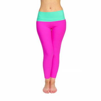 FREE SHIPPING, Pink Leggings, Crop Yoga Pants, High Waist Yoga Pants, Workout Leggings, Yoga Pants, High Waist Leggings, Pink Yoga Wear