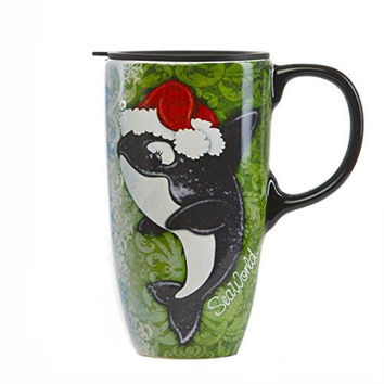 SeaWorld Penguin and Shamu Holiday Coffee Mug New