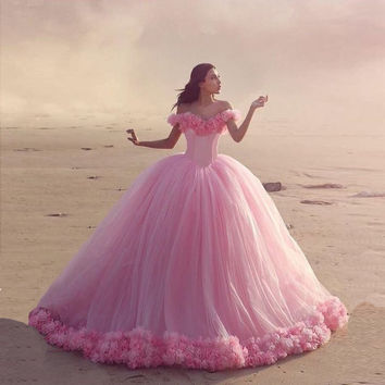 Hot Pink with Flowers Tulle Off Shoulder Robe De Mariage Cinderella 2016 Ball Gown Wedding Dress Chapel Train