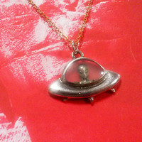 Vintage - Space Ship and  Alien  Necklace - pendant - charm  - alien -sci fi - I Want to Believe - space