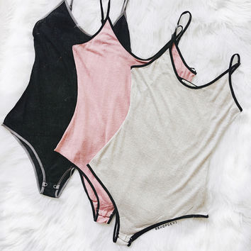 Staci Bodysuit (Black, Pink, Grey)