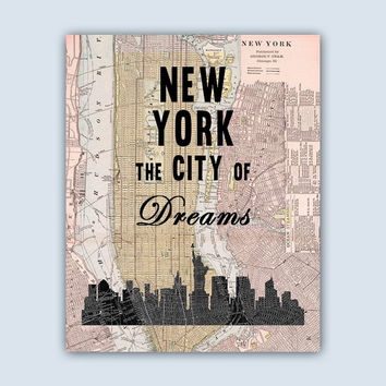 New York Art Print, New York City Map, New York Decor, New York Skyline, New York Wall Art, New York Quote, New York Poster