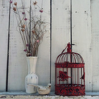 "RESERVED for Marianne - Cherry Red Round Bird Cage  / 13"" Sitting / Metal Birdcage / Wedding Decor"