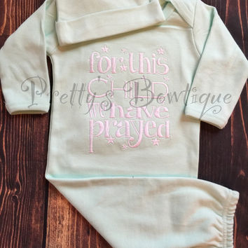 Gender neutral coming home outfit -- For This Child we have Prayed gown or romper and hat Coming home outfit, baby gown- gender neutral