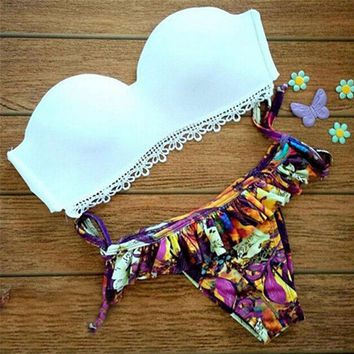 Hight Quality Lace Push-Up Bikini Set Beach Swimsuit Summer Gift 197