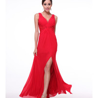 Red Gathered Rhinestone Embroidered Chiffon Long Dress 2015 Homecoming Dresses