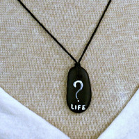 Unisex hand painted worldwide question - LIFE with a question mark - Black natural stone pendant on adjustable natural hemp cord