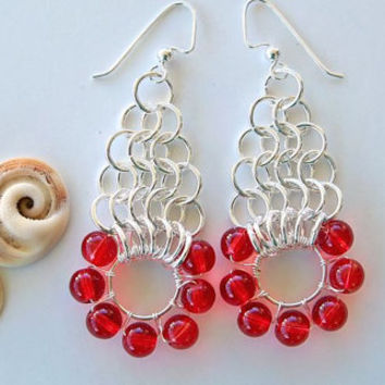 Red Chain Maille Earrings Silver & Red Earring Unique Red Earrings Chain Maille Dangle Earrings Long Red Earrings Red Glass Bead Earrings