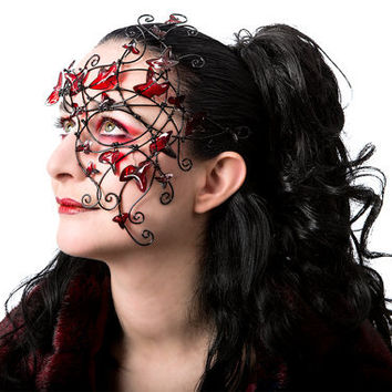 Black vine half mask with red leaves. handmade