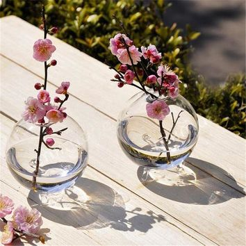 Soledi Clear Ball Glass Vase Bottle Terrarium Containers DIY Table Flowers Vase Transparent Wedding Garden Decor Accessories