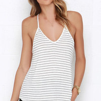 Tetherball Champ Ivory Striped Tank Top