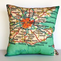 LONDON map cushion cushion cover pillow organic by mybeardedpigeon