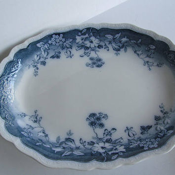 Large Flow Blue Platter Antique Platters Antique Farmhouse decor Farmhouse China Turkey Platter Johnson Brothers Clayton Pattern