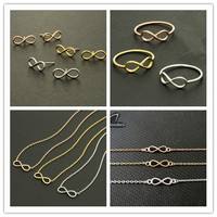 Fine Costume Jewelry Silver Rose Gold Plated Cute Infinity BFF Statement Necklaces Earrings Bracelet Rings Sets For Women